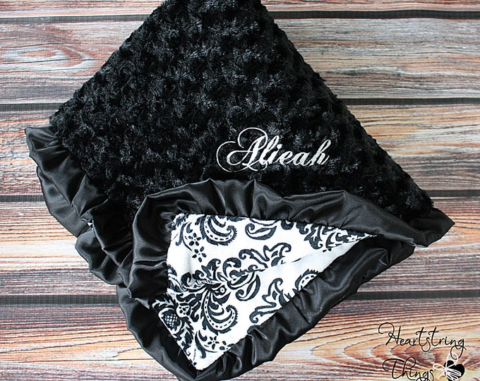 Add Embroidery to Blanket Minky Blanket, Black and White, Damask, Satin blanket, Ruffle Blanket, Personalized blanket, baby gift