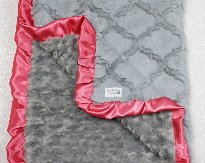 Minky Blanket, grey blanket, silver and coral, soft blanket, silver lattice, baby girl, grey and coral nursery, lovie, minky blanket, silver
