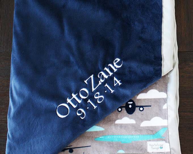 Embroidered Minky Blanket, Blanket with name, Baby boy, Baby Gift, Airplane blanket, Aviator blanket, Smooth Minky, Navy and Grey, Silver