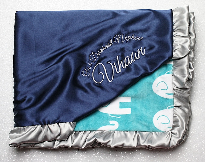 Minky blanket, baby boy, embroidered blanket, custom minky blanket, silky personalized blanket, navy teal and silver elephant, baby gift