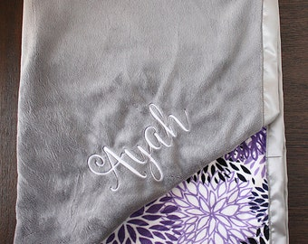 personalized Minky Blanket, purple and grey blanket, Bloom minky, Blanket with Embroidery, Blanket with Name, Baby Girl Blanket, lavender