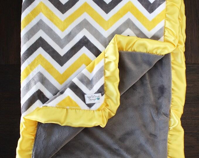 Minky blanket, Chevron blanket, Unisex blanket, Grey and Yellow, Adult minky, Large minky blanket, oversized minky, yellow blanket