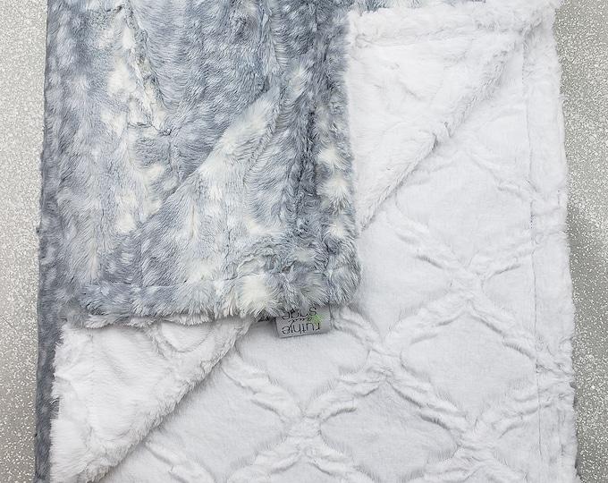 Minky Blanket, Faux Fur Blanket, Throw, Grey and White, Snow Leopard, Fawn Minky, soft luxurious throw, Christmas Gift, Adult Minky, Lattice