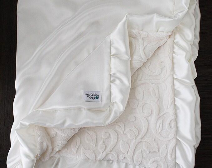 Minky Blanket, Blanket for Woman, Baby girl, Elegant Blanket, Adult Blanket, Cream Blanket, Ivory blanket, Scroll Vine, Satin blanket, silk