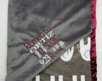 Customizable Minky, Birth Stats Blanket, Subway birth stats, birth weight blanket, baby gift, baby boy, elephant blanket, grey and maroon