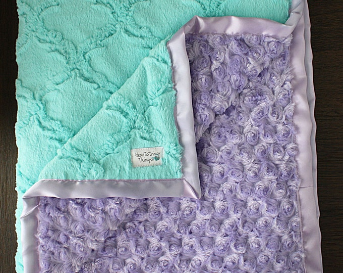 Minky Blanket, baby girl, custom baby girl blanket, aqua and purple, lavender, soft blanket, Lattice Print, baby gift, crib bedding, frozen