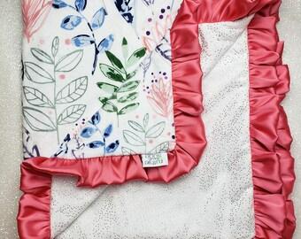 READY TO SHIP Minky blanket, baby girl blanket, Satin blanket, Modern Leaf, Glitter Blanket, sparkle, Botanical blanket