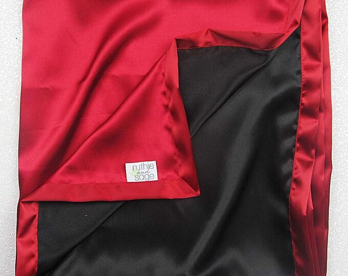 Satin blanket, charmeuse satin, double-sided satin blanket, silky blanket, woobie, lovie, red and black, sateen, baby girl, boy soft blanket