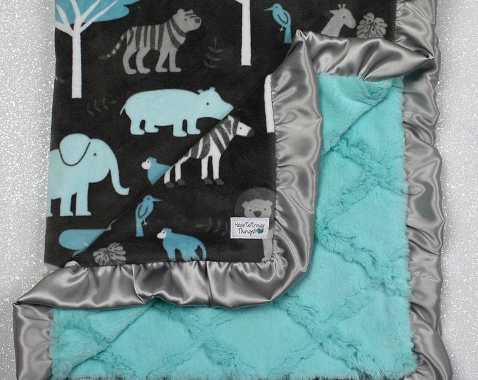 Minky blanket, Soft blanket, Baby boy, Jungle blanket, animal blanket, Grey and Aqua, Silver, Lions, Warm blanket, cute blanket, baby boy
