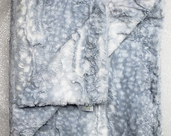 Minky Blanket, Arctic Snow Leopard print, Fawn snow leopard , silver, neutral, soft luxurious throw, Faux fur blanket, Christmas cool tones