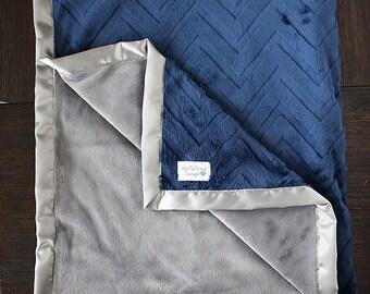 Minky Blanket, Baby boy, blanket for boy, Chevron Blanket, navy and blue, soft blanket, blue blanket, Embossed chevron, boy minky blanket