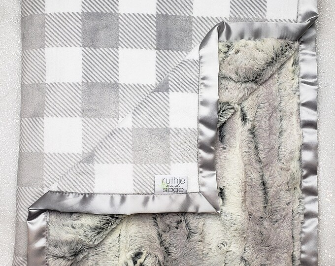 Minky Blanket| Plaid | Silver and White Blanket | Lumberjack nursery | Gingham nursery | Baby boy | silver fox | Buffalo Plaid | faux fur