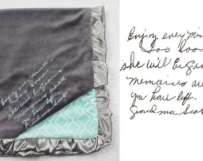 Handwritten embroidery on blanket -- long note