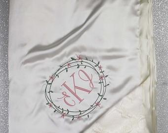 Custom Minky Blanket, personalized wedding gift, monogrammed  Embroidered Blanket, wedding gift, personalized blanket, cream and blush