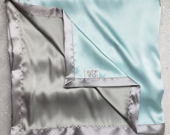 Satin blanket, charmeuse satin, double-sided satin blanket, satin, silky blanket, soft blanket, aqua and silver, blue green, seaglass