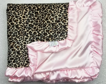 Minky Blanket, Adult minky, baby girl gift, pink satin, ruffle blanket, silky, minky and satin pink blanket, cheetah minky, animal print
