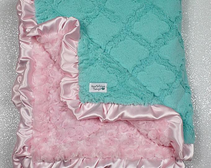 Minky Blanket, baby girl, blanket for girl, aqua and pink, baby gift, boy, soft blanket, Lattice Print Ruffle Blanket, aqua and silver