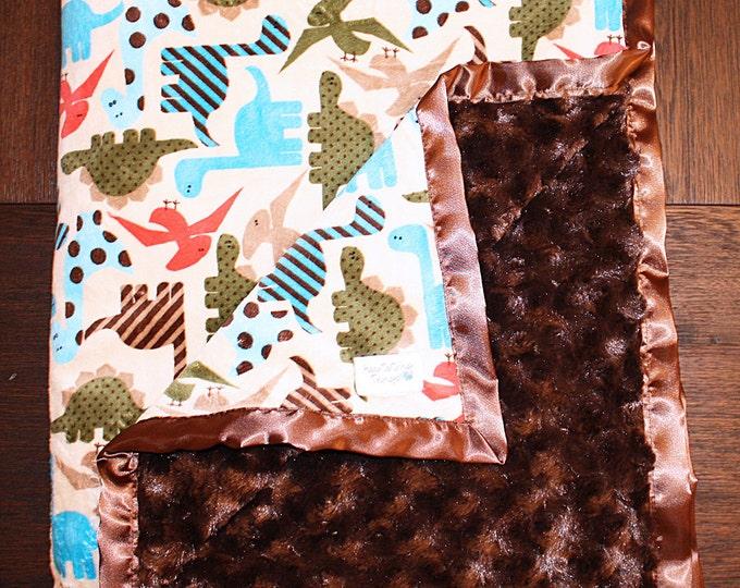 Baby Minky, Dinosaur Minky, Dinosaur Blanket, T Rex blanket, boy blanket, boy minky, baby boy gift, baby shower gift, soft blanket
