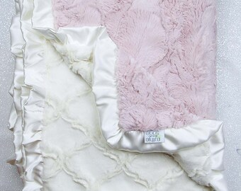 Minky blanket, faux fur throw, Rosewater hide, baby girl blanket, vintage pink, elegant plush blanket Ruffle, ideas for sick, pink and cream