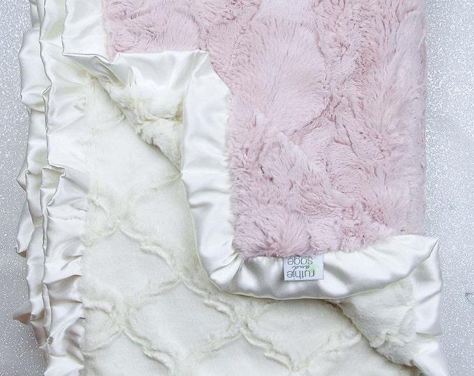 Minky blanket, faux fur throw, Rosewater hide, baby girl blanket, vintage pink, elegant plush blanket Ruffle, ideas for sick, pink and cream