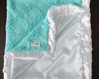 Customizable minky blanket, baby girl, baby blanket, lavender and white, mermaid, baby gift, silky blanket, satin blanket, frozen, silky