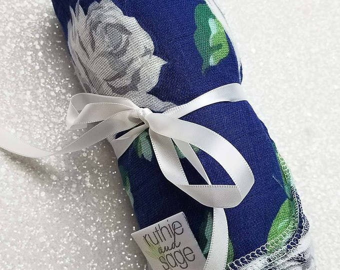 Swaddle blanket, wrap, double gauze, newborn blanket, floral swaddle, newborn photography, baby blanket, baby girl, Vintage Rose, Navy White