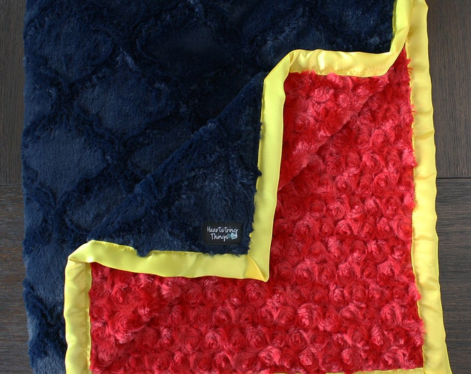 Minky Blanket, Child Blanket, navy and red blanket, lattice, red and yellow, red blue and yellow, superman, superhero, baby boy