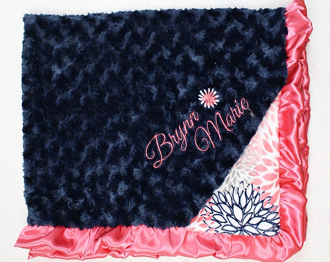 Embroidered Minky Blanket, Custom blanket, personalized baby blanket, baby girl, minky blanket, blanket with flower, baby gift, coral