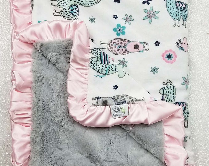 Minky Blanket, baby girl, Llama, pink and grey, aqua and pink, mint, custom girl blanket, soft blanket, baby gift, crib bedding, ruffle