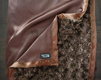Minky Blanket, Adult minky, minky for dad, gift for men, brown blanket, brown minky, minky and satin blanket, soft blanket blanket for boy