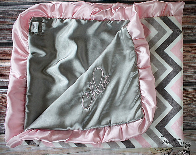 minky blanket, chevron minky, satin blanket, personalized blanket, baby blanket, soft blanket, minky and satin embroidered blanket baby gift