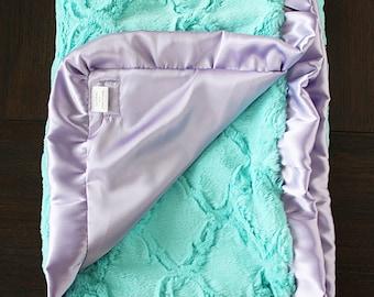 Baby girl, minky blanket, baby blanket, lavender and aqua, frozen, purple and white, ruffle blanket, silky blanket, satin blanket, baby gift
