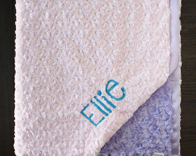 Personalized Minky Blanket, Custom blanket, blanket with name, gift for grandchild, baby girl, Pink blanket, christmas gift, baby blanket