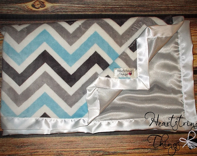 Minky Blanket satin blanket chevron minky baby blanket, Grey and White Chevron Minky with Grey satin backing many colors sizes and designs