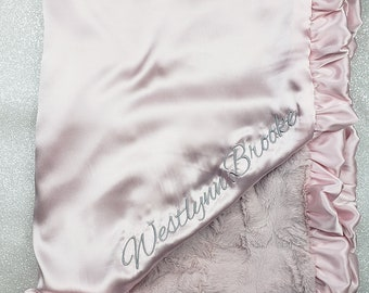 Minky Blanket, Personalized blanket, Antique pink blanket, blanket with name, silky, silky blessing, baby girl gift, Embroidered blanket