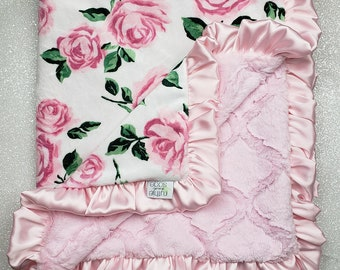 Pink Minky and White Chenille Personalized with Your Baby Girl/'s First Name in Vintage Florals Monogrammed Baby Blanket in SHABBY CHIC