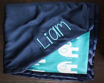 Minky blanket, baby boy, embroidered blanket, personalized blanket, custom minky blanket, silky, personalized blanket, elephant blanket