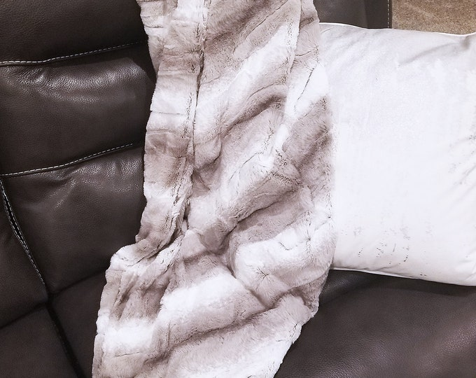 Minky Blanket, Angora minky print, neutral, soft luxurious throw, Faux fur blanket, grey and white, taupe, cool tones, fluffy, adult blanket