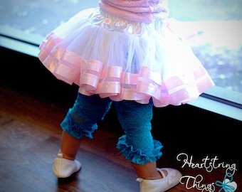 Double Lined Chiffon Pixie Pettiskirt lined with Satin Ribbon adapted from Petti Skirt for Baby or Child Sweet Easter Skirt