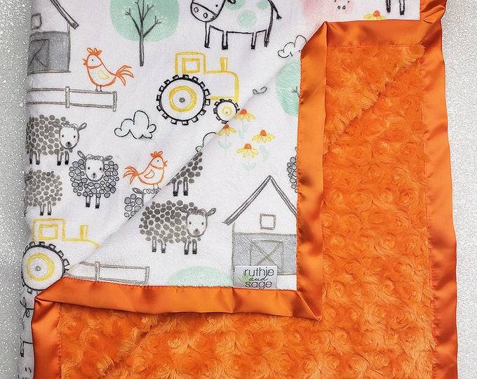 Custom Minky Blanket, personalized blanket, Minky Blanket, baby boy, Farm blanket, animal minky, sheep, cow, baby girl, grey, orange, yellow