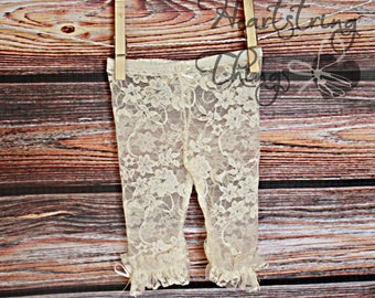 Baby girl lace leggings, girl lace leggings, lace leggings, lace tights, ivory, white, pink, aqua, cream, stretch lace, leggings with ruffle