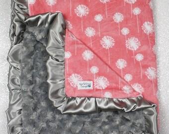 minky blanket, baby girl blanket, baby gift, floral, coral and grey minky, Custom minky blanket, coral blanket, baby girl blanket, dandelion