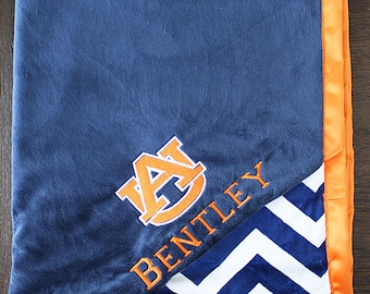 Auburn Blanket, Auburn Tigers, sports blanket, ALL SIZES, blanket for boys, minky and satin, baby boy, baby girl,  baby gift, auburn gift