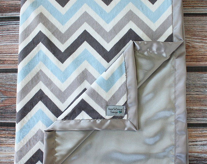 Baby Blanket, Blue Blanket, Chevron Minky, Satin Blanket, Grey Blanket, Girl Chevron Blanket, Baby Minky, Adult Minky, Child minky blanket