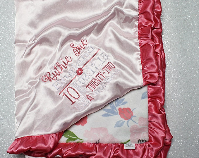 Minky Blanket, baby girl, subway birth stats, baby blanket, birth stats blanket, minky and satin, personalized baby girl blanket with name
