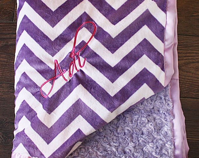 Minky Blanket, Blanket with Embroidery, Blanket with Name Engraved blanket purple chevron Baby Girl, Baby Blanket, purple and pink, lavender