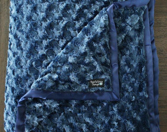 Minky Blanket, Baby boy, blanket for boy, Navy Blue Blanket, Masculine Blanket, Soft Blanket, baby gift, Rose Minky, Cuddle Minky, Fluffy