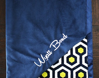 Embroidered Minky Blanket, gift for baby, baby boy, personalized blanket, Blanket with name, Apple Green and Navy, Modern Minky Blanket