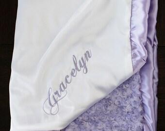 Minky Blanket, Blessing Blanket, Baptism blanket, satin and minky blanket, Christening Blanket, Embroidered Blanket, Lavender and White