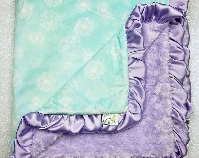 Minky Blanket, baby girl, custom baby girl blanket, mint and purple, lavender, soft blanket, lattice, mint, baby gift, crib bedding, frozen